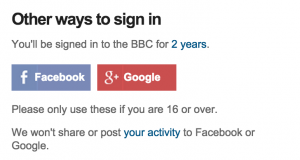 Expectations: BBC lets potential signups know that it won't post to your feeds.
