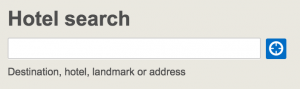 Forms: Hotels.com lets you know what you can search for.